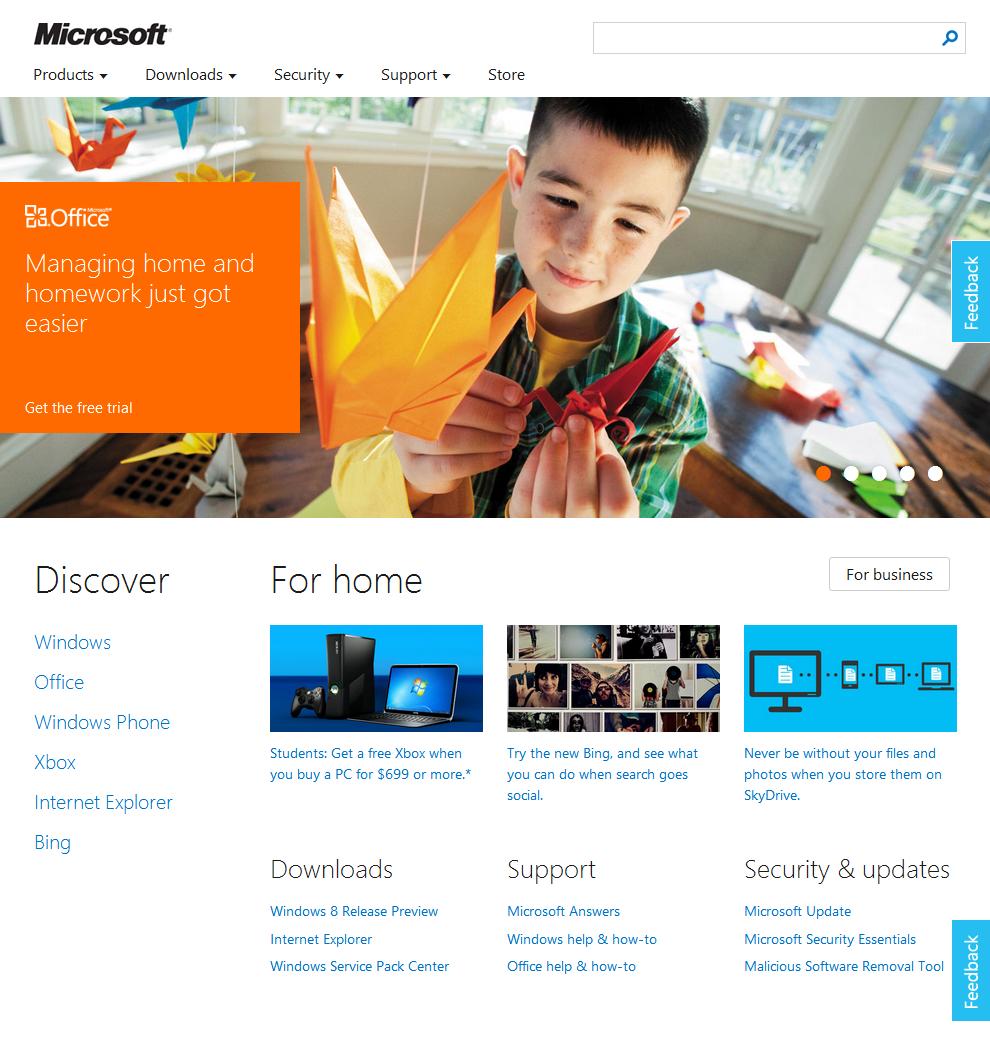 Новый дизайн сайта Microsoft 1