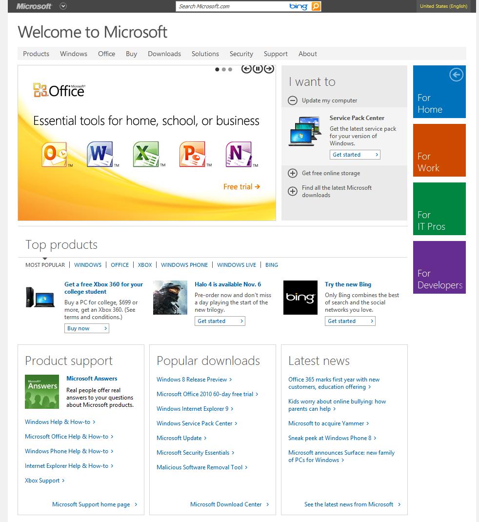 Новый дизайн сайта Microsoft